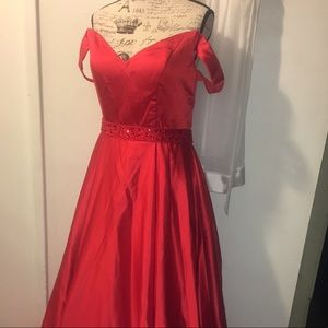 Red satin  Ball Gown Evening Dress Off shoulders